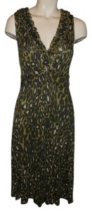 INC International Concepts short dress green, black & beige animal print on Tradesy