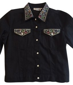 Christine Alexander Black multi Womens Jean Jacket