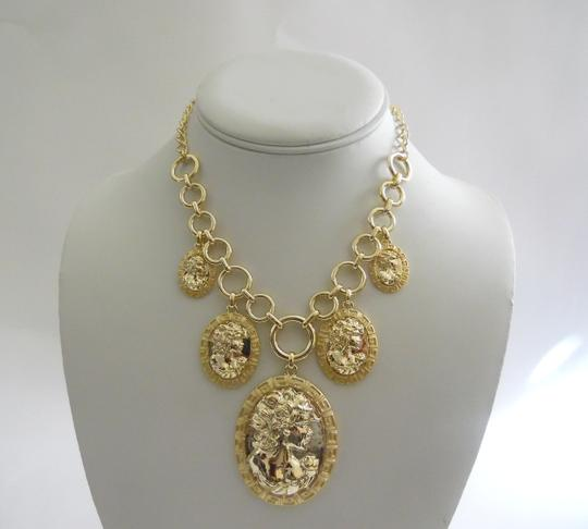 "AMEDEO AMEDEO ""Echo From Athens"" Goldtone Raised Relief Charm Necklace"