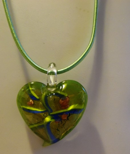 Other Blown Glass Heart Pendant with 18 Inch Silk Cord HSN