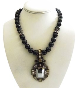 Heidi Daus Authentic Simulated Tahitian Pearl Crystal Necklace with Large Hematite Enhancer