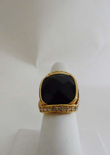 Joan Rivers Joan Rivers Black Lucite Faceted Ring Size 8