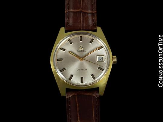 Omega 1970 Omega Geneve Vintage Tropical Mens Watch, Date - Gold Plated & Stainless Steel