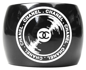 Chanel RECORD CUFF - RARE VINYL PRINT CC BRACELET BANGLE BLACK WHITE CASSETTE