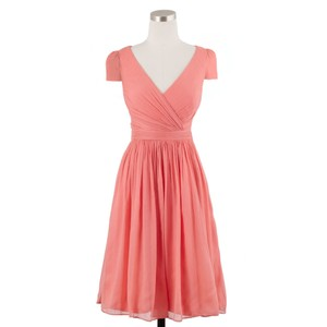 J.Crew Bright Coral Mirabelle Dress In Silk Chiffon Dress