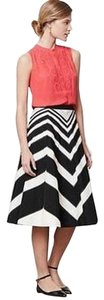 Anthropologie Chevron Black And White Vintage Preppy Spring Vintage Skirt black/white