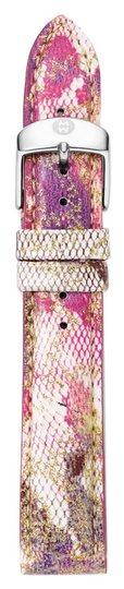 Michele Michele Straps, Women's 18Mm Pink Floral Fashion Patent Leather Strap