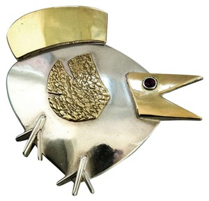 Walter Schluep Walter Schluep Modernist Bird Pin in Sterling Silver and 14k Gold