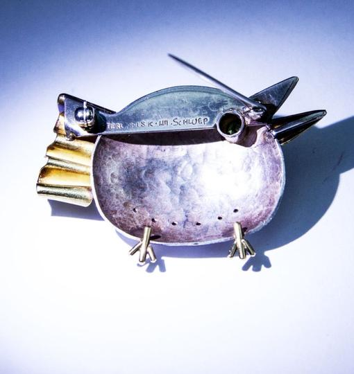 Walter Schluep Walter Schluep Figural Sterling and Gold Bird Pin