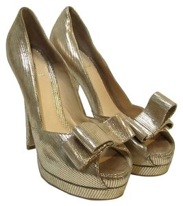 Fendi Platform Gold Pumps