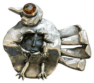 Walter Schluep One of a Kind Walter Schluep Figural Bird and Face Sterling Silver Brooch Pin