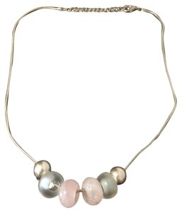 Lia Sophia Silver Necklace with Pearls and Ceramic Beads
