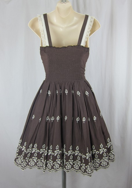 Anthropologie short dress brown, ivory Embroidered Boho 50's Flare Full on Tradesy