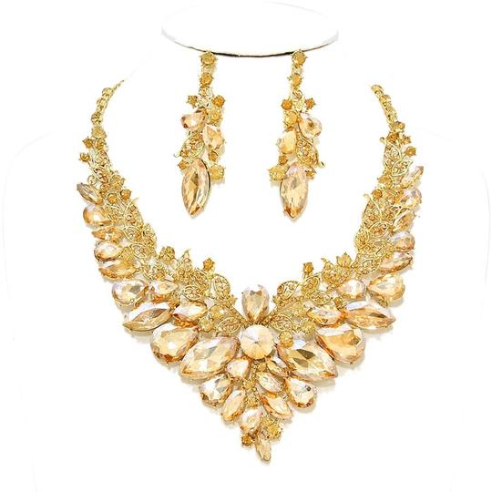 Other Rhinestone Crystal Topaz Necklace and Earring