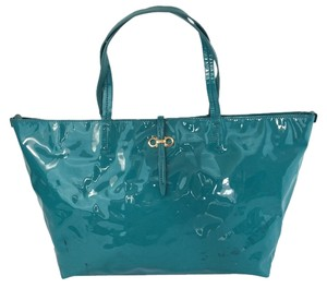 Salvatore Ferragamo Bice Summer Patent Leather Tote in Teal / Blue-green