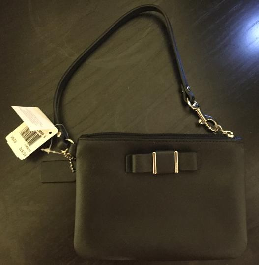 Coach Leather Bow Wristlet in Black