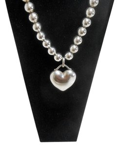 Tiffany & Co. T&Co Sterling Silver Beaded Necklace w Heart
