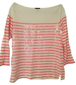 J.Crew Sequin Boatneck Striped T Shirt Pink Stripe