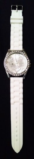 Other White silicone jelly watch with rhinestones and stainless steel back