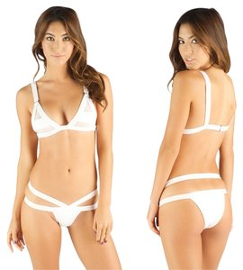 BrazilRoxx BRAZILIAN Bikini, Bright White, Unique bottoms with double sides and net stripe bikini top
