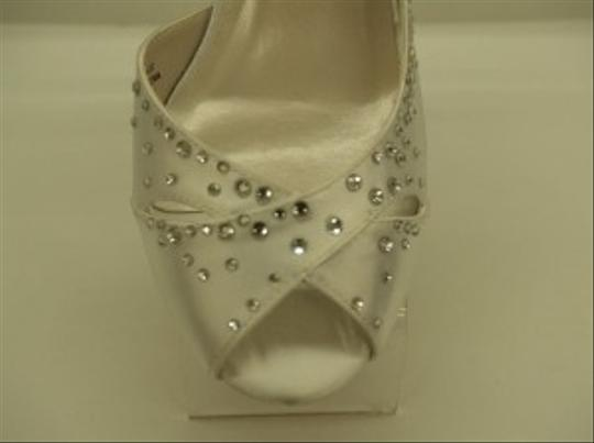 Special Occasions by Saugus Shoe White Trish 9120 Satin Rhinestone Crystals Bling Peep Prom Formal Size US 7 Regular (M, B)