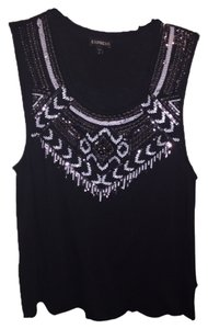 Express Beaded Sequins T Shirt Black