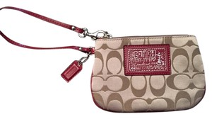 Coach Poppy Brown Wristlet in light brown/red