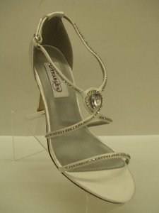 Dyeables Reckless White Size 7 White Satin Thin Strappy Sandals Open Toe Sexy Rhinestone Crystals Bling Prom Formal Special Wedding Shoes