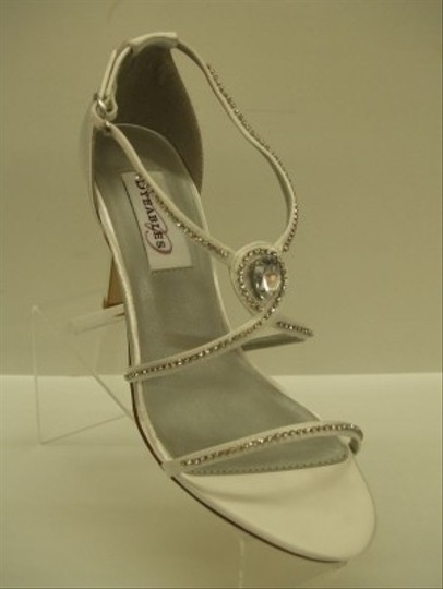 Dyeables White Reckless Satin Thin Strappy Sandals Open Toe Sexy Rhinestone Crystals Bling Prom Formal Special Occasion Size US 7 Regular (M, B)