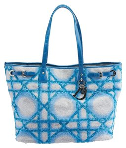 Dior Quilted Fabric Tote in Blue & White