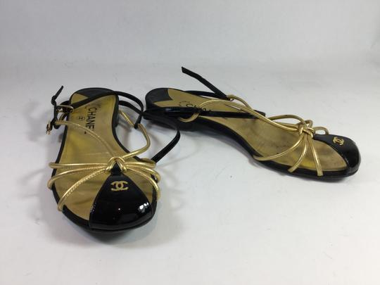 Chanel Leather Patent Black Sandals