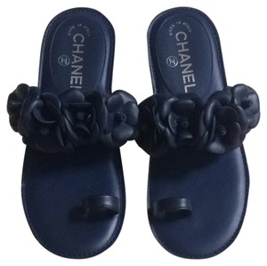 Chanel Flats Lambskin Dark Navy Blue Mules