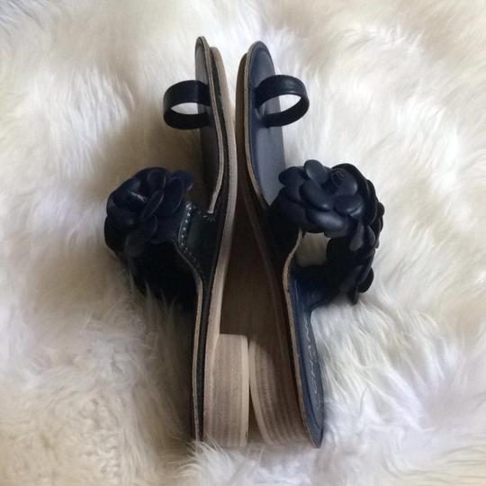 Chanel Thongs Flats Lambskin Slides Dark Navy Blue Mules