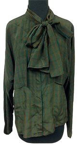 Gucci Vintage Brown Green Striped Silk Long Sleeve W Attached Scarf H923 Top Multi-Color