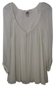Diane von Furstenberg Silk Sheer Lined Rope Top Cream