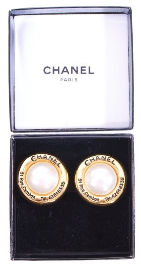 Chanel Chanel Pearl and Gold Earrings
