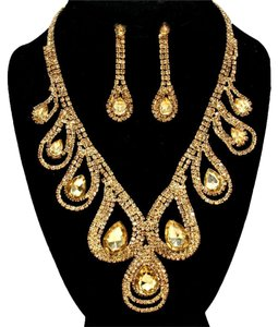 Other Stunning Bejeweled Rhinestone Crystal and Topaz Necklace and Earring