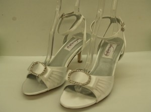 Dyeables Spirit White Size: 7 Size 7 Open Toe Sandal Rhinestone Buckle Bling Ankle Straps Wedding Shoes