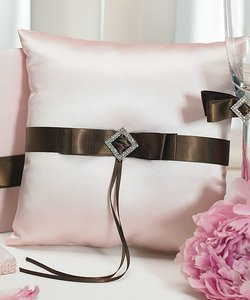 Pink & Brown Strawberry & Chocolate Ring Bearer Pillow