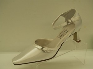 68d6717ec722 Special Occasions by Saugus Shoe White 4830 Doris Closed Toe Rhinestone  Buckles Elegant Comfortable Dyeable Formal