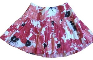 Urban Outfitters Floral Ruffle Mini Skirt Red, White, Black