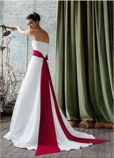David 39 s bridal style t8778 comes with ivory red sash for Red and black wedding dresses for sale