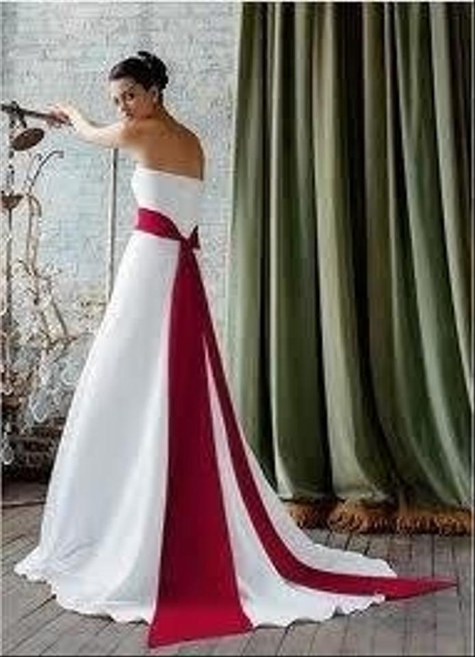 Ivory Bridesmaid Dresses With Red Sash - Wedding Guest Dresses