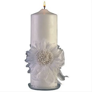 White Gerbera Daisy Unity Candle