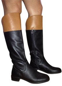 Halston Cigarette Tan Leather Knee High Black Boots