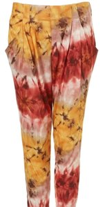 Topshop Joggers Harem Tie Dye Chic Relaxed Pants Yellow
