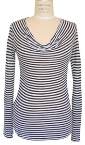 BCBGMAXAZRIA Cowl Stripe T Shirt Black/White