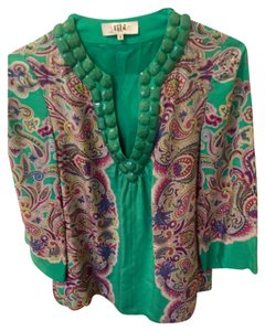 Tibi Embellished Paisley Floral Top Multi/Turquoise