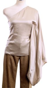 Robert Rodriguez Silk One Shoulder Draped Top Champagne