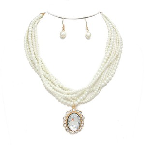 Rhinestone Crystal Drop Charm Multistrand Pearl Necklace and Earring